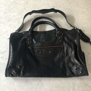 Balenciaga leather city satchel